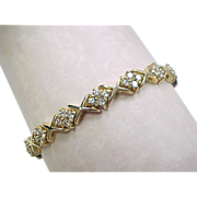 Vintage 14k Gold 2.5 ctw Diamond Hug and Kiss XO Bracelet