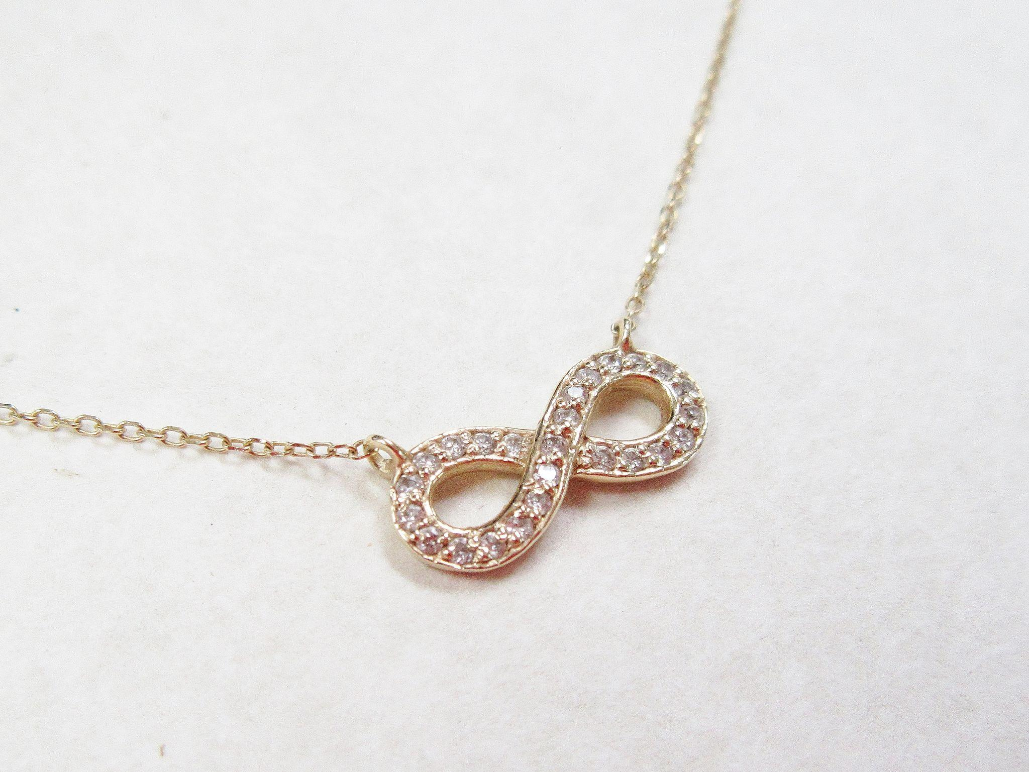 "Vintage 14k Gold Diamond Infinity Necklace 20 1 2"" from"