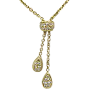 18k Gold Diamond Pave Lariat Necklace