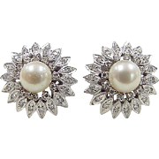 Retro 14k White Gold Cultured Pearl and Diamond Stud Earrings