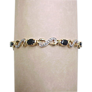 Vintage Gold Vermeil Genuine Diamond and Sapphire Bracelet