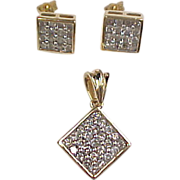 Diamond  2.60 ctw ~ Pendant & Earrings 14k Gold