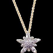 """Vintage 14k Gold Diamond Star Necklace ~ 16"""""""