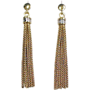 14k Gold Two-Tone Diamond Tassel Earrings ~ .10 ctw