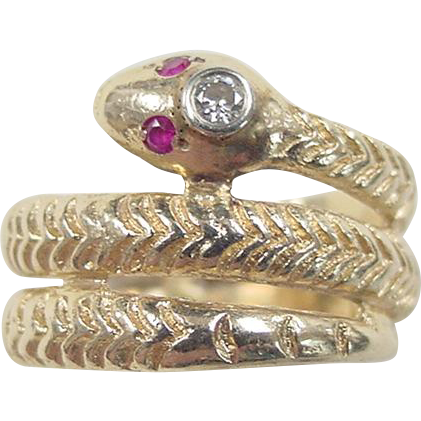 vintage 14k gold ruby and snake ring from