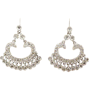 14k White Gold Diamond Chandelier Dangle Earrings