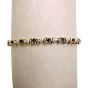 Vintage Gold Vermeil Two-Tone Genuine Sapphire and Diamond Bracelet