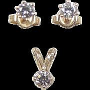 Vintage 14k Gold Diamond Pendant and Stud Earrings Set ~ .46 ctw