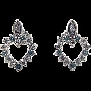 Vintage 14k White Gold .76 ctw Diamond and Aquamarine Heart Earrings