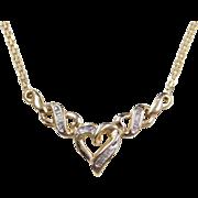 """Vintage 10k Gold Diamond Baguette Heart Necklace  ~ 18"""""""