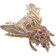 Vintage 14k Gold Diamond Eyed Bee Pin / Brooch