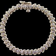 "Vintage 14k Gold 1.17 ctw Diamond Tennis Bracelet ~ Short 5 7/8"""
