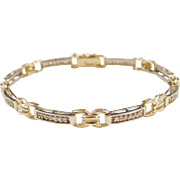 Vintage 14k Gold Two-Tone .48 ctw Diamond Bracelet ~ 7 3/8""