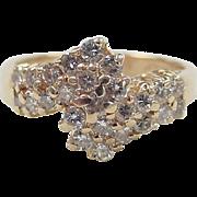 Vintage 14k Gold Diamond Bypass Ring