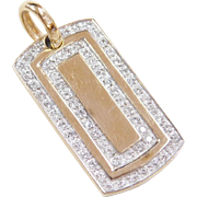 Vintage 14k Gold Two-Tone Diamond Dog Tag Charm / Pendant