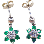 Vintage 14k White Gold .68 ctw Emerald and Diamond Flower Earrings