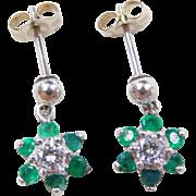 Vintage 14k White Gold .68 ctw Emerald and Diamond Flower Earrings