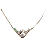 Vintage 14k Gold .94 ctw Natural Emerald and Diamond Necklace ~