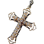 Vintage 14k Gold Diamond and Enamel Cross Pendant