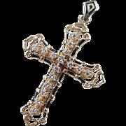 Vintage 14k Gold Diamond and Enamel Cross Pendant