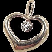Vintage 14k Gold Diamond Heart Charm