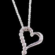 "Vintage 10k White Gold .15 ctw  Diamond Heart Necklace ~ 18"""