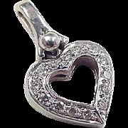 Vintage 14k White Gold .245 ctw Diamond Heart Pendant