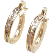 Vintage 14k Gold .96 ctw Diamond Hoop Earrings