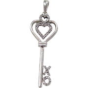 Vintage Sterling Silver .24 ctw Diamond Key Heart XO Pendant