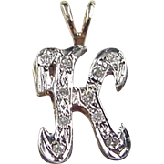 Vintage 14k Gold Two-Tone Diamond Letter K Charm / Pendant