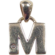 Vintage 14k Gold Diamond Letter M Charm