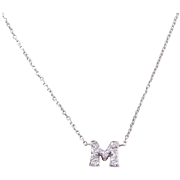 Vintage 14k White Gold Diamond Letter M Initial Necklace ~ 16""