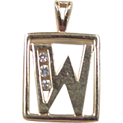Vintage 14k Gold Diamond Letter W Charm / Pendant