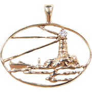 Vintage 14k Gold Diamond Lighthouse Pendant