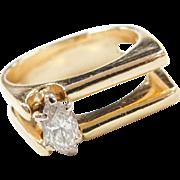 Vintage 18k Gold Modernist .45 Carat Diamond Marquise Ring