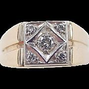 Vintage 14k Gold Two-Tone Men's .45 ctw Diamond Ring