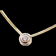"""Vintage 14k Gold .25 Carat Diamond Necklace ~ 18"""""""