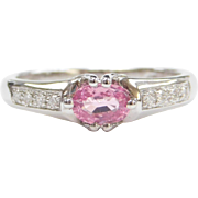 Vintage 14k White Gold Pink Sapphire and Diamond Ring