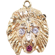 Vintage 14k Gold Ruby and Diamond Lion Head Charm / Pendant