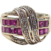 Vintage 14k Gold WIDE Ruby and Diamond Ring