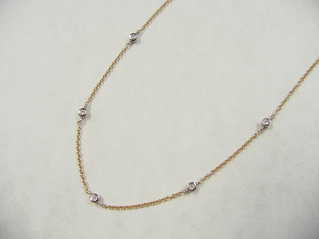 Vintage 14k Gold Two Tone 25 Ctw Diamond Station Necklace