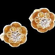 Vintage 14k Gold .20 ctw Diamond Stud Earrings ~ Buttercup Flower Setting