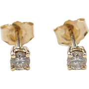 Vintage 14k Gold .22 ctw Diamond Stud Earrings