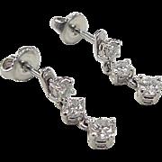 Vintage 14k White Gold .82 ctw Diamond Earrings
