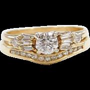Vintage 14k Gold .673 ctw Diamond Engagement Ring and Wedding Band Set