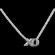 """14k White Gold .10 ctw Diamond XO Necklace ~ 18"""""""