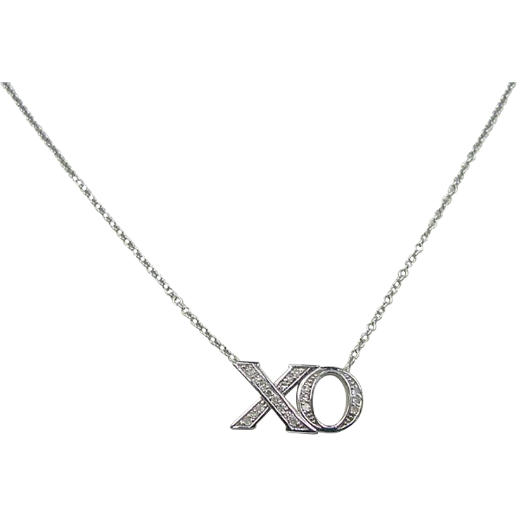 14k white gold 10 ctw xo necklace 18 quot from
