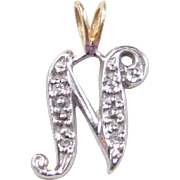 Vintage 14k Gold Two-Tone Diamond Letter N Charm