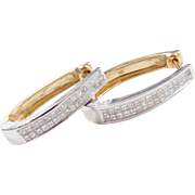 Vintage 14k Gold Two-Tone .84 ctw Diamond Hoop Earrings