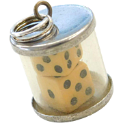 Sterling Silver Luck Dice in Cylinder Charm